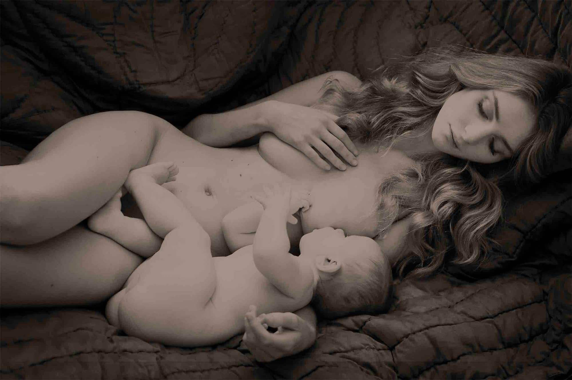Mother and baby fine artistic nude soul portrait photographer